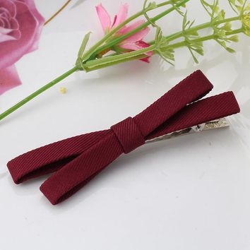 Sweet Style Headwear Solid Bowkont Ribbon Hair Accessories Girls Hairclips Butterfly Tie Clips Women Hairpins  Female  Hairgrips