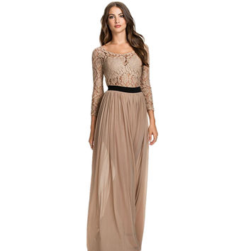 RA80138 Hot sell women long dress party evening elegant good quality sexy lace dress o-neck floor length long sleeve maxi dress