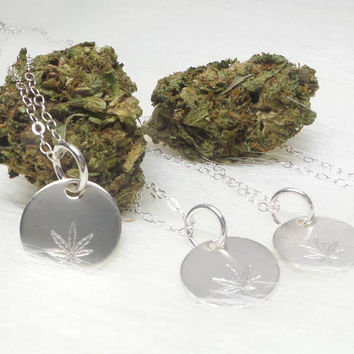 small pot leaf sterling silver necklace, hand stamped marijuana leaf pendant necklace, stoner jewelry, 420 jewelry by the toke shop