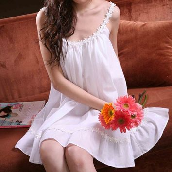 Fashion summer 100% cotton princess sexy white spaghetti strap nightgown female quality plus size sleepwear lounge skirt