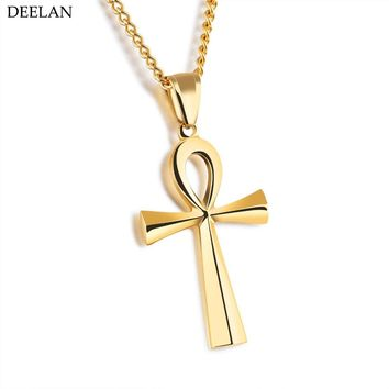 2017 Trendy Silver White Color Stainless Steel Necklace Men Coptic Ankh Cross Amulet Necklaces Pendants Women Religious Jewelry