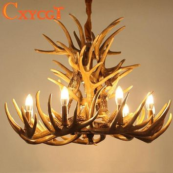 Brown Antlers Resin Chandelier Lamp Modern LED Antler Chandelier