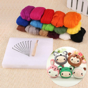 16 colors Wool Fibre Wool Roving For Needle Felting Hand Spinning DIY materials free-shipping FZ0135