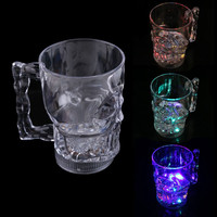 New Water Inductive Glowing Wine Beer Cola Cup Mug LED Glowing Skull Shape Cup  hv5n