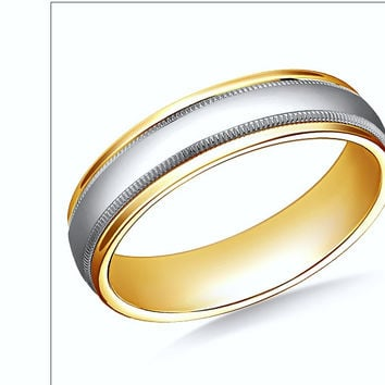 18K Two-Toned Comfort-Fit High Polished 6mm Band JEWELFORME BLUE