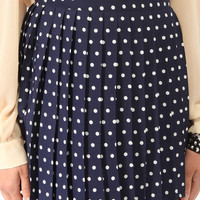 Short Pleated Polka Dot Skirt