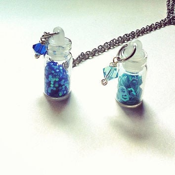 glitter filled mini glass vial necklace, vial necklace, blue necklace, glitter necklace, gifts for her, gifts for girls, fairy dust charm