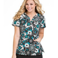 Peaches Life Is Peachy Madi Ocean Delight Print Scrub Top