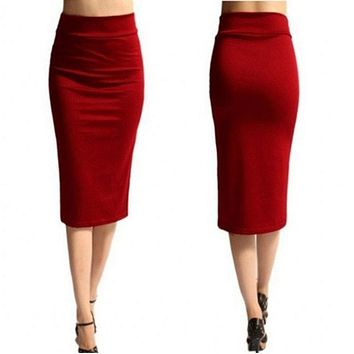 New Slim Office Package Skirts Women Summer Skirt Mid-Calf Length Pencil Skirt High Waist Skirts