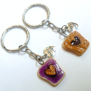 Peanut Butter and Jelly Heart Keychain Set, Grape, With Best Friend Charm, Best Friend's Keychains, Cute :D