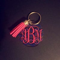 Monogram keychain with tassel birthday gift christmas gifts for her