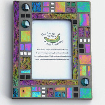 Mosaic Picture Frame, 4 x 6 Picture Size, Black + Gray + Iridescent + Silver Mirror + 3D Nuggets Handmade Stained Glass Mosaic Picture Frame