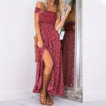 Sexy Strapless Beach Summer Dress Sundresses Vintage Bohemian Maxi Dress Robe Femme Boho Floral Women Split Long Dresses Vestido