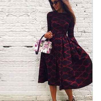 Black Patterned Print Long Sleeve Dress