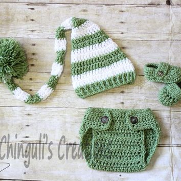 Crochet Baby Elf Hat Diaper Cover and Loafers  Crochet Baby Elf Hat, Sleeping Hat, Winter Hat, Striped Hat Spring Hat