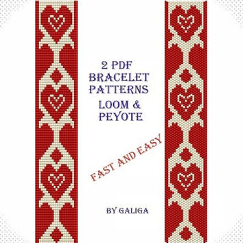 Red heart bracelet Patterns for beading Tutorial beaded pattern Fast and easy Jewelry making Love bracelet Pdf pattern download loom pattern