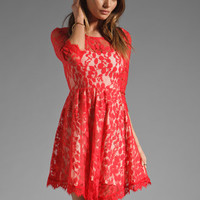 Free People Floral Mesh Lace Dress in Hot Red from REVOLVEclothing.com