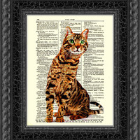 Dictionary Art Page, Bengal Cat Print, Bengal Cat ARt, Antique Dictionary Page, Buy 2 Get 1 Free