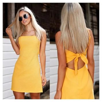 Sexy Back Bow Sexy Casual Summer  Dress