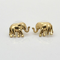 Fashion Jewelry Gold Tone Elephant Earring Stud AHW pretty Gift for girls Kids