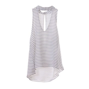 Olivaceous Womens Stripe Choker Top