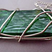 Wire Wrapped Green Rectangle Glass Pendant