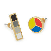 Color Wheel and Grayscale Mismatched Earrings   stud earrings for women