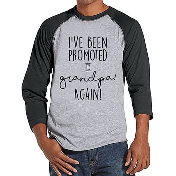 Pregnancy Announcement - Promoted to Grandpa Again - Mens Grey Raglan - Grandparent Pregnancy Reveal Idea - New Grandparents - Grandpa Tee