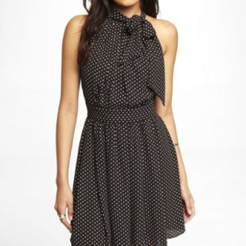 POLKA DOT TIE NECK HALTER DRESS
