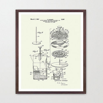 Coffee Poster - French Press - French Press Patent Print - Coffee Art - Kitchen Art - Kitchen Wall - Coffee Art Print - Cafe - Cafe Poster