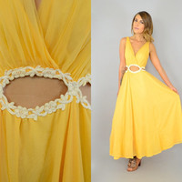 Rare 50's Sheer ORANGE CREAMSICLE cut-out Floral swing maxi PARTY Dress, small