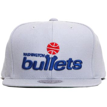 Washington Bullets Wool Solid Snapback Hat Grey