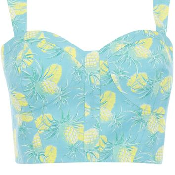 Oasis Floral Frocks | Multi Blue Pineapple Crop Top | Womens Fashion Clothing | Oasis Stores UK