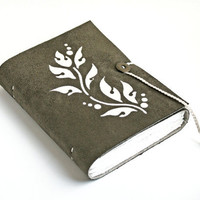 Olive Vine leaf green Vegan Faux Leather Journal suede Pleather notebook diary