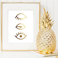 Gold Blinked Eye Print, Real Gold Foil, Wall Decor, Minimal Wall Art, Beauty Print, Glamour Decor, Gold Foil Poster, Gold Foil Print.