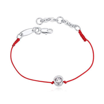 Crystals From Austria thin red cord thread string rope bracelet with Rhodium gold plated chain for 2017 women girls gift