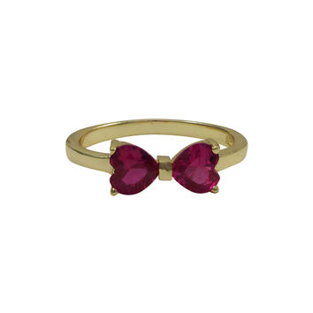 Ruby Heart Shape CZ, Gold Plated Sterling Silver Bow Ring
