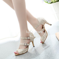 Ballroom Dance Shoes Light Gold Shine Cloth Salsa Latin Dance Shoes Sexy New Dance Shoes