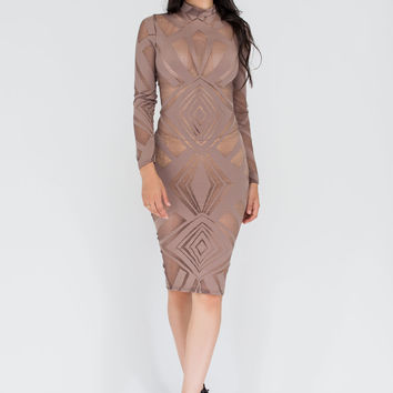 Sheer About It Geometric Mesh Midi Dress