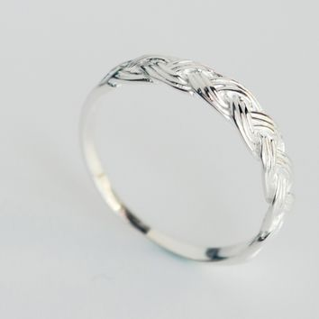 Personality weaving tail ring,  925 Sterling Silver tail ring