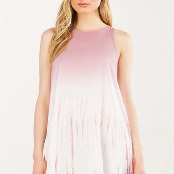 Tie Dye Shift Dress in Pink