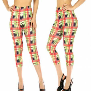 Cotton Blend Capri Leggings Checkered Lime in M/L  and XL/XXL
