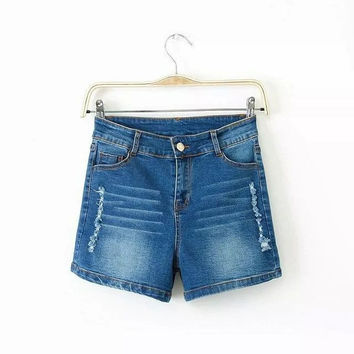 Summer Women's Fashion High Rise Casual Ripped Holes Denim Shorts Stylish Jeans [8864410887]