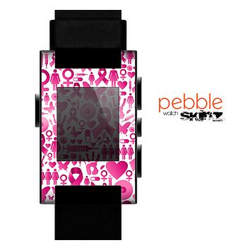 The Pink Collage Breast Cancer Awareness Skin for the Pebble SmartWatch