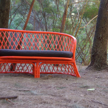 Made to Order -  Upcycled Vintage Cane 2 Seater Chair Ballistic Neon Orange