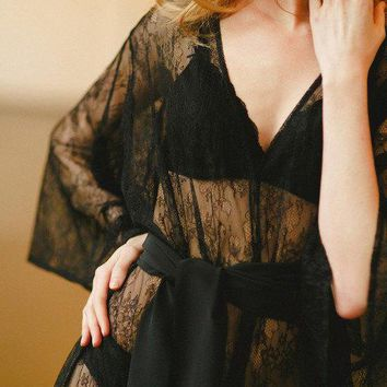 New Fine & Fleurie Luxury Bridal Robe Lingerie In Black Italian Lace With Silk Sash