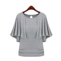 2016 New Summer Solid Fashion Cloak O-Neck Women Cotton Blend Slimming Stretchy Tops Loose Casual T-Shirt Plus Size M-5XL