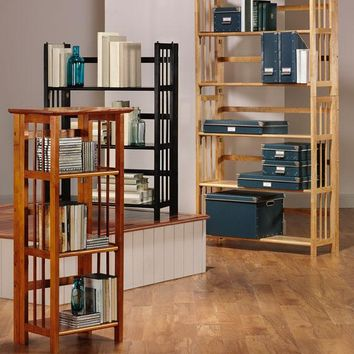 Folding/Stacking Set of Two Bookcases and One Top - Bookcases - Wooden Bookcase - Modular Bookshelves | HomeDecorators.com