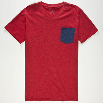Blue Crown Contrast Mens Pocket Tee Red  In Sizes