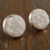 Druzy earrings- solid white drusy silver tone stud druzy earrings